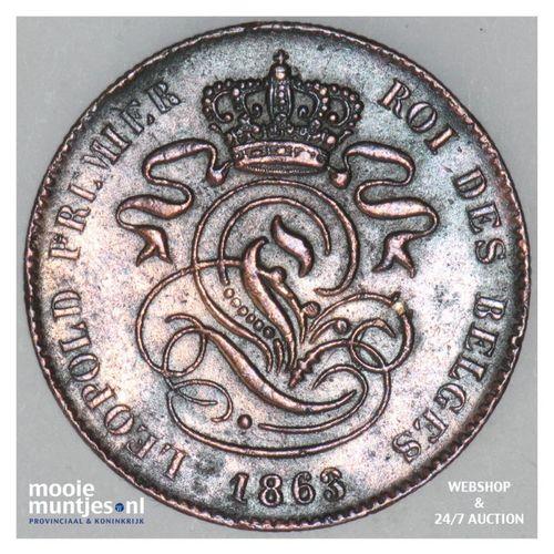 2 centimes - Belgium 1863 (KM 4.2) (kant A)