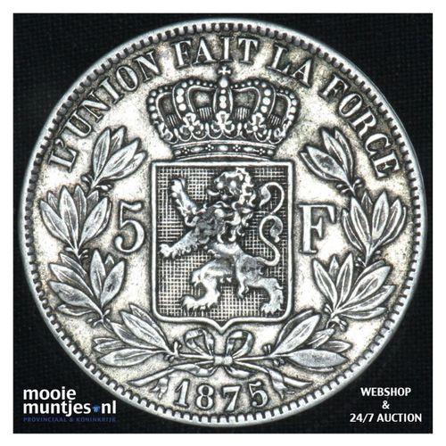 5 francs (5 frank) - Belgium 1875 (KM 24) (kant A)