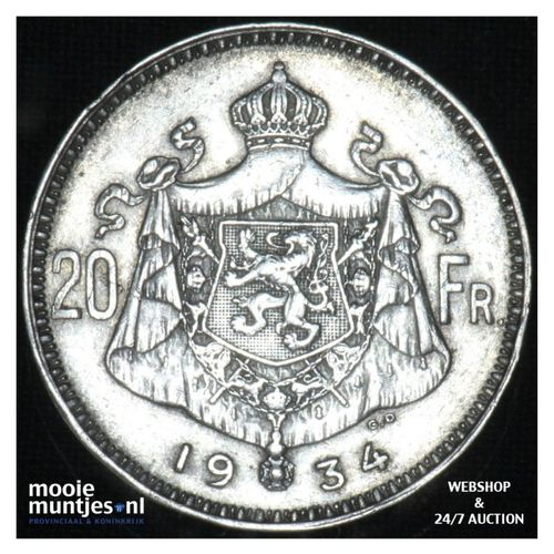 20 francs (20 frank) - Belgium 1934 (KM 104.1) (kant A)