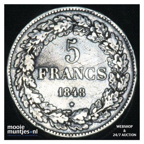 5 francs (5 frank) - Belgium 1848 (KM 3.2) (kant A)