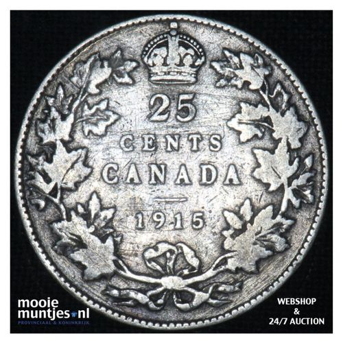 25 cents - - Canada 1915 (KM 25) (kant A)
