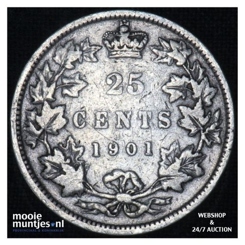 25 cents - - Canada 1901 (KM 5) (kant A)