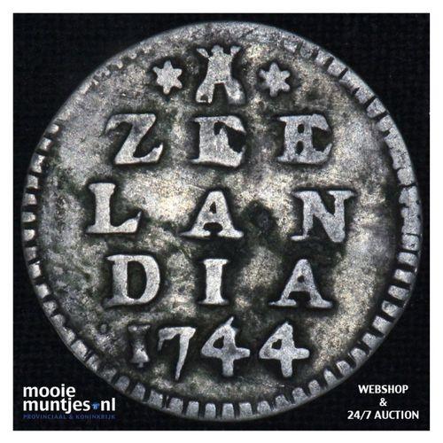 Zeeland - Dubbele wapenstuiver - 1744 (kant A)