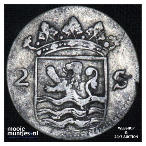 Zeeland - Dubbele wapenstuiver - 1753 (kant B)