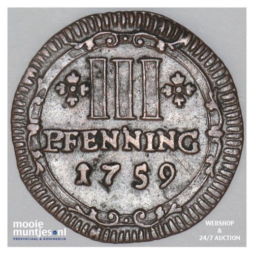 3 pfennig - (cathedral chapter) - German States/Munster 1759 (KM 430) (kant A)
