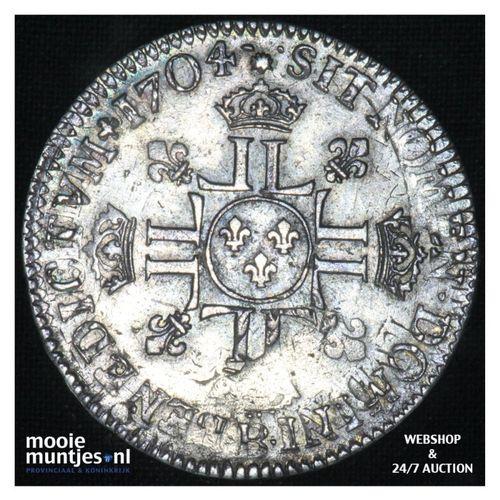 1/2 ecu (45 sols) - France 1704 over 1693 B Rouen (KM 355.2) (kant A)
