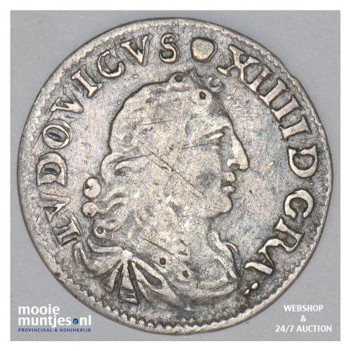 4 sols - France 1676 D (Lyon) (KM 232.2) (kant B)