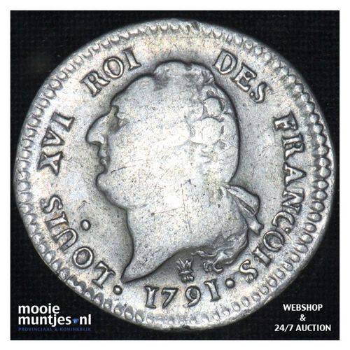 15 sols (1/8 ecu) - France 1791 (KM 604.5) (kant A)