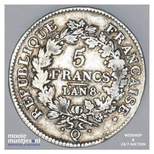 5 francs - France lan 8 Q (1799-1800) (KM 639.8) (kant A)