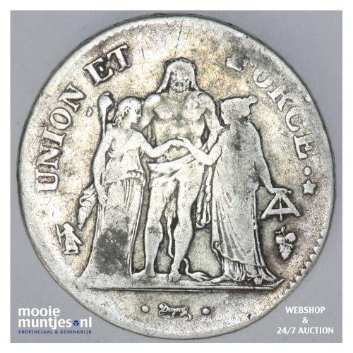 5 francs - France lan 8 Q (1799-1800) (KM 639.8) (kant B)