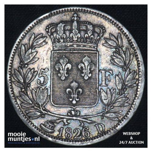 5 francs - France 1826 D (Lyon) (KM 720.8) (kant A)