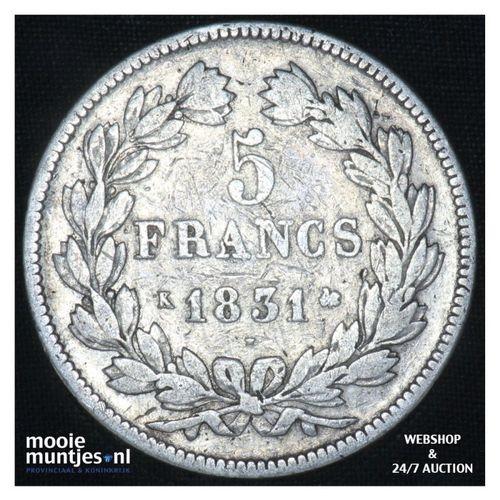 5 francs - France 1831 K (Lyon) (KM 735.4) (kant A)