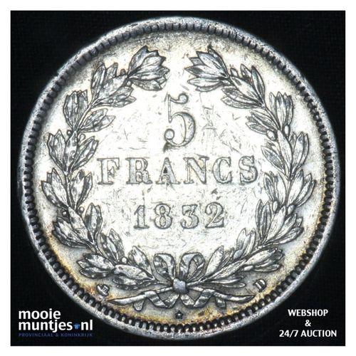 5 francs - France 1832 D (Lyon) (KM 749.1) (kant A)