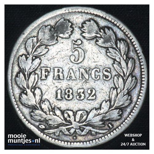 5 francs - France 1832 I (Limoges) (KM 749.1) (kant B)