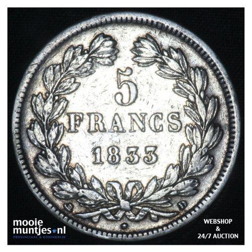 5 francs - France 1833 D (Lyon) (KM 749.4) (kant A)