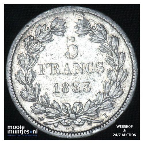 5 francs - France 1833 I (Limoges) (KM 749.4) (kant A)
