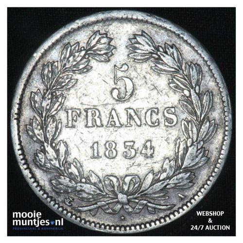5 francs - France 1834 A (Paris) (KM 749.1) (kant A)