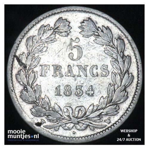 5 francs - France 1834 W (Lille) (KM 749.1) (kant A)
