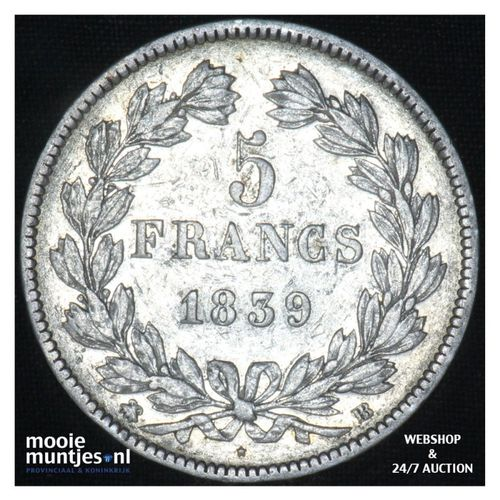 5 francs - France 1839 BB (Strasbourg) (KM 749.2) (kant A)