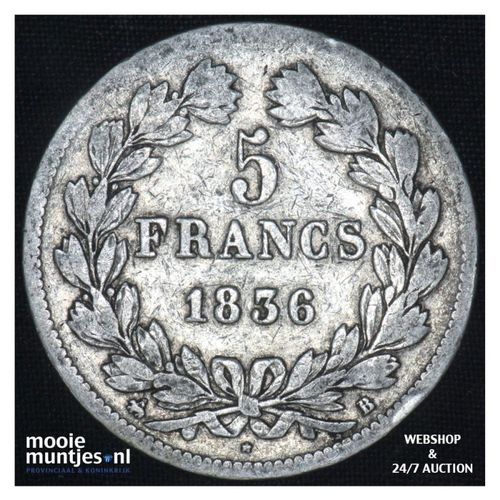5 francs - France 1839 B (Rouen) (KM 749.2) (kant A)