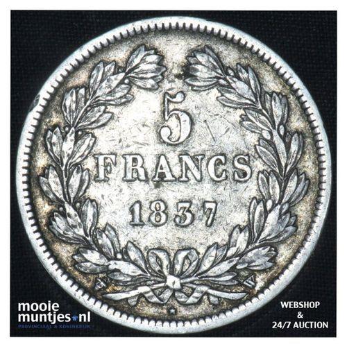 5 francs - France 1837 W (Lille) (KM 749.2) (kant A)