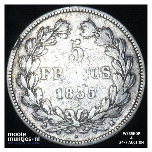 5 francs - France 1835 K (Bordeaux) (KM 749.2) (kant A)