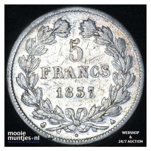 5 francs - France 1837 A (Paris) (KM 749.1) (kant A)