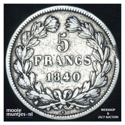 5 francs - France 1840 K (Bordeaux) (KM 749.3) (kant A)