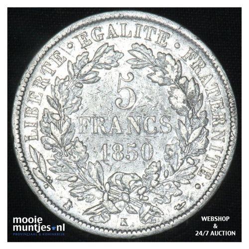 5 francs - France 1850 K (Bordeaux) (KM 761.1) (kant A)