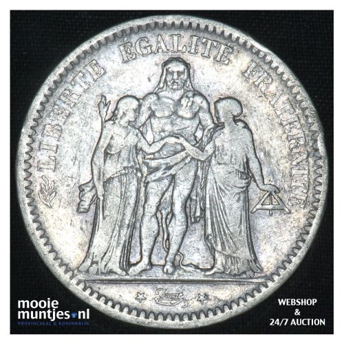 5 francs - France 1848 A (Paris) (KM 756.1) (kant B)