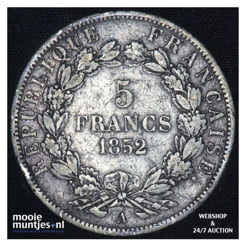 5 francs - France 1852 A (Paris) (KM 773.1) (kant A)