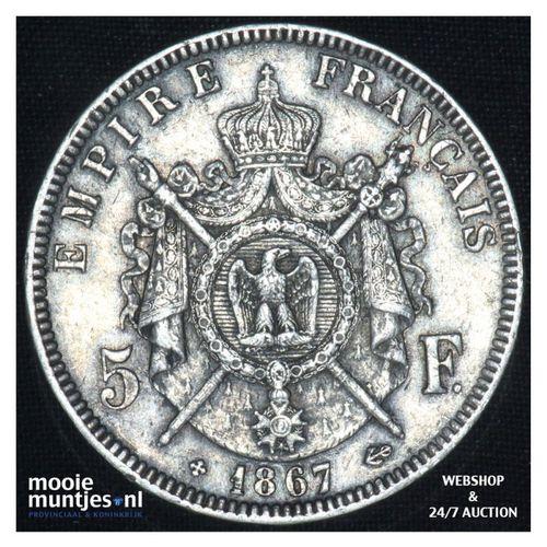5 francs - France 1867 BB (Strasbourg) (KM 799.2) (kant A)