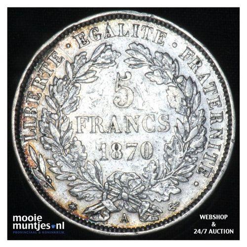 5 francs - France 1870 A (Paris) (KM 819) (kant A)