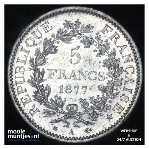 5 francs - France 1877 A (Paris) (KM 820.1) (kant A)