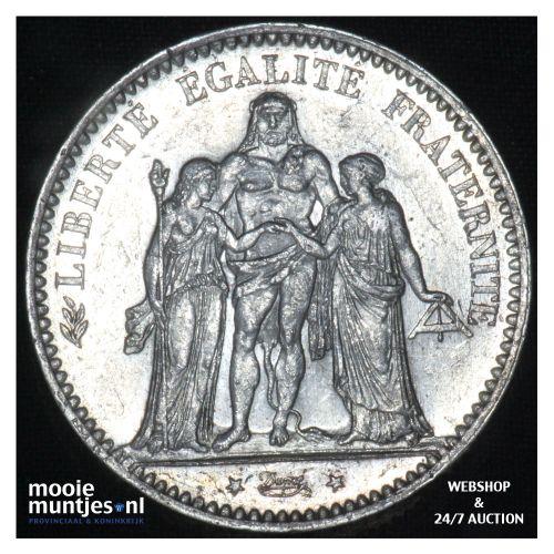 5 francs - France 1877 A (Paris) (KM 820.1) (kant B)
