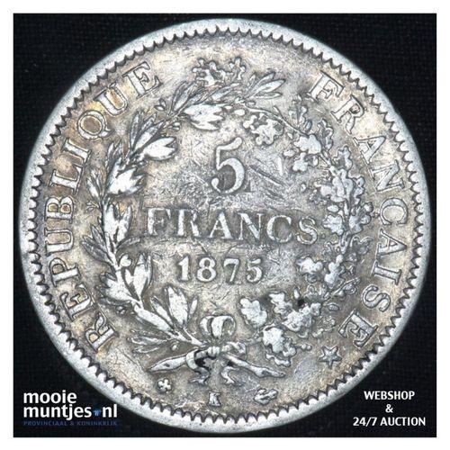 5 francs - France 1875 K (Bordeaux) (KM 820.1) (kant A)