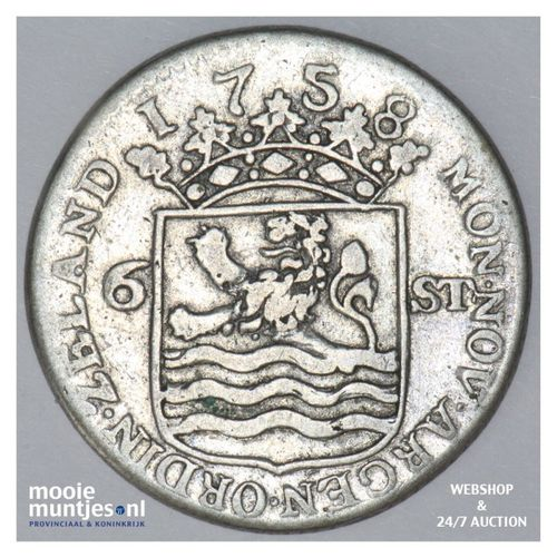 Zeeland - Scheepjesschelling - 1758 Piedfort (kant A)