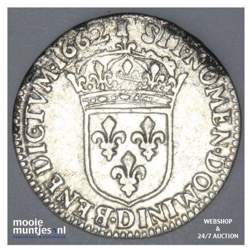 1/12 ecu (10 sols) - France 1662 D (Lyon) (KM 199.3) (kant A)