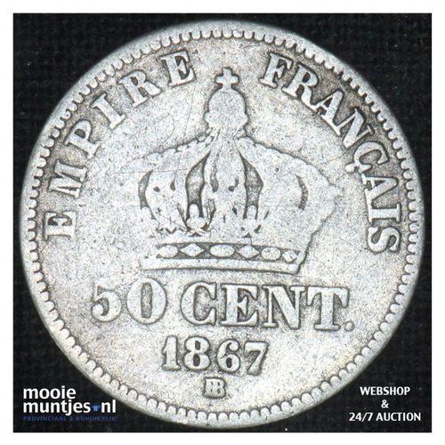50 centimes - France 1867 BB (Strasbourg) (KM 814.2) (kant A)