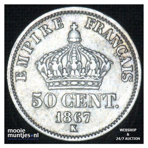 50 centimes - France 1867 K (Bordeaux) (KM 814.3) (kant A)