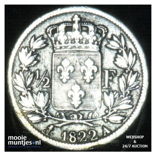 1/2 franc - France 1822 A (Paris) (KM 708.1) (kant A)