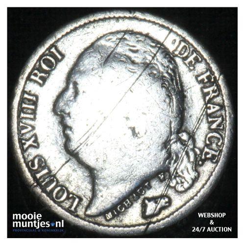 1/2 franc - France 1822 A (Paris) (KM 708.1) (kant B)