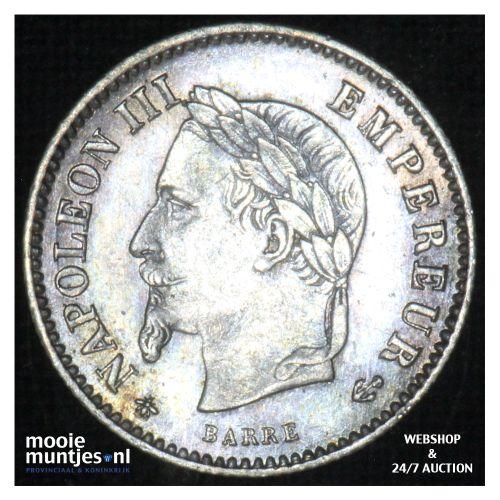 20 centimes - France 1867 A (Paris) (KM 808.1) (kant B)