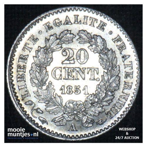 20 centimes - France 1851 A (Paris) (KM 758.1) (kant A)