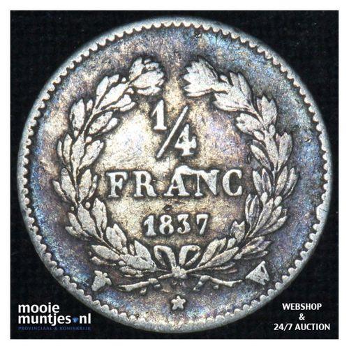 1/4 franc - France 1837 W (Lille) (KM 740.13) (kant A)