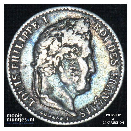 1/4 franc - France 1837 W (Lille) (KM 740.13) (kant B)