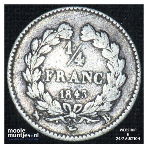 1/4 franc - France 1843 B (Rouen) (KM 740.2) (kant A)