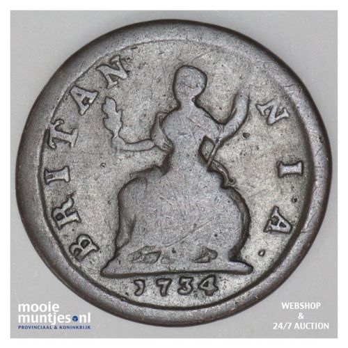 farthing - Great Britain 1734 (KM 572) (kant A)