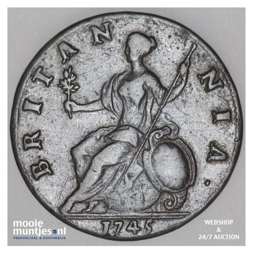 1/2 penny - Great Britain 1745 (KM 579.1) (kant A)