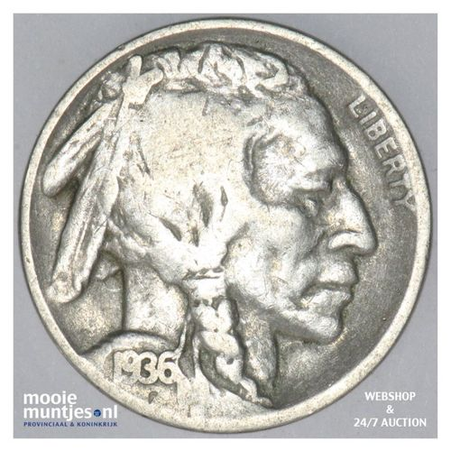 5 cents - buffalo nickel -  - United States of America 1936 D  (KM 134) (kant A)